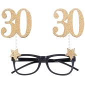 Party-Brille zum 30. Geburtstag, Gold Glitter
