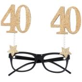 Party-Brille zum 40. Geburtstag, Gold Glitter