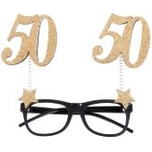 Party-Brille zum 50. Geburtstag, Gold Glitter