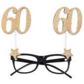 Party-Brille zum 60. Geburtstag, Gold Glitter