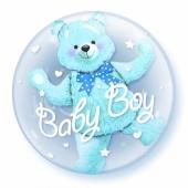 Insider-Bubble-Luftballon Baby Boy mit Helium, zu Geburt, Taufe, Babyparty