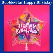 Bubble Stern-Luftballon Happy Birthday zum Geburtstag ohne Helium