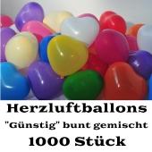 Herzluftballons bunt gemischt, 1000 Stück, günstige, preiswerte und billige Luftballons in Herzform, Herzballons aus Latex