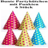 Bunte Partyhütchen mit Punkten, 6 Stück im Sortiment