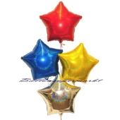 buntes Silvesterdeko Bouquet aus holografischen Sternballons
