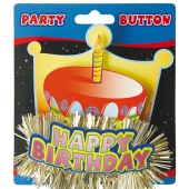 Party-Button Happy Birthday, Anstecker zum Geburtstag