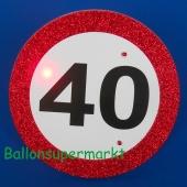 Riesen-Button Geburtstag 40 mit LED Beleuchtung