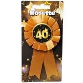 Rosette zum 40. Geburtstag, schwarz/gold