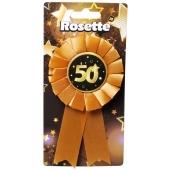 Rosette zum 50. Geburtstag, schwarz/gold