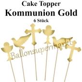 Cake Topper Kommunion Gold, 6 Stück
