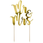 Cake Topper Mr & Mrs in Gold