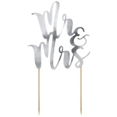 Cake Topper Mr & Mrs in Silber