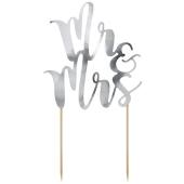 Cake Topper Mr & Mrs in Silber
