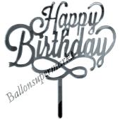 Spiegel Cake Topper Happy Birthday kursiv, Tortendeko zum Geburtstag