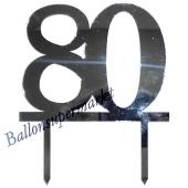 Spiegel Cake Topper Zahl 80, Tortendeko zum 80. Geburtstag