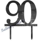 Spiegel Cake Topper Zahl 90, Tortendeko zum 90. Geburtstag