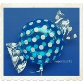 Candy Luftballon aus Folie mit Helium, Dots, Hellblau