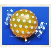 Candy Luftballon aus Folie mit Helium, Dots, Orange