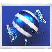 Candy Luftballon aus Folie mit Helium, Blau, Stripes