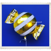 Candy Luftballon aus Folie mit Helium, Gold, Stripes
