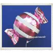 Candy Luftballon aus Folie mit Helium, Pink, Stripes