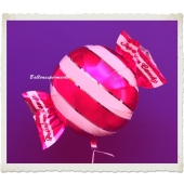 Candy Luftballon aus Folie mit Helium, Rot, Stripes