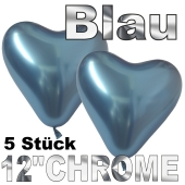Chrome Herzluftballons 33 cm Blau, 5 Stück