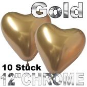 Chrome Herzluftballons 33 cm Gold, 10 Stück