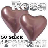 Chrome Herzluftballons 33 cm Rosa, 50 Stück