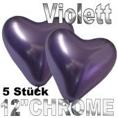 Chrome Herzluftballons 33 cm Violett, 5 Stück