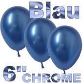 Chrome Luftballons 15 cm Blau, 10 Stück