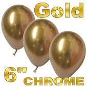 Chrome Luftballons 15 cm Gold, 10 Stück