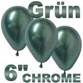 Chrome Luftballons 15 cm Grün, 10 Stück