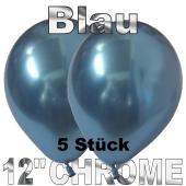 Luftballons in Chrome Blau 30 cm, 5 Stück