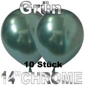 Luftballons in Chrome Grün 35 cm, 10 Stück