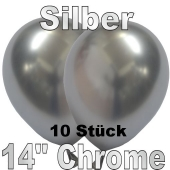 Luftballons in Chrome Silber35 cm, 10 Stück