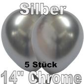 Luftballons in Chrome Silber 35 cm, 5 Stück