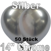 Luftballons in Chrome Silber 35 cm, 50 Stück