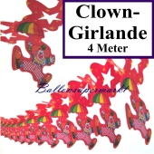 Clown-Girlande, Girlande mit Clowns am Schirm