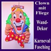 Clown mit roter Fliege, Wanddekoration und Bühnendekoration zu Karneval und Fasching