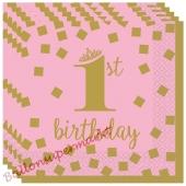 Gold 1st Birthday Rosa ,16 Mini-Servietten zum 1. Kindergeburtstag