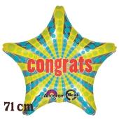 Congrats! Retro Star, riesiger Folienballon, ohne Helium- Ballongas