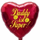 Herzluftballon zum Vatertag. Daddy ist Super! Burgund, 45 cm inklusive Ballongas Helium
