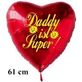 Herzluftballon zum Vatertag. Daddy ist Super! Rot, 61 cm ohne Ballongas Helium