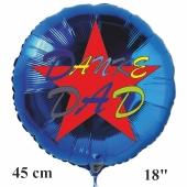 Danke Dad, blauer, runder Luftballon, 45 cm, rund, mit Helium