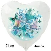 Danke für Alles! Zum Muttertag! Großer weißer Herzluftballon 71 cm mit Helium