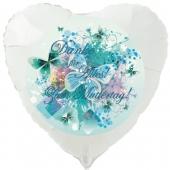 Danke für Alles! Zum Muttertag! Weißer Herzluftballon 45 cm mit Helium