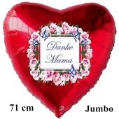 Danke Mama. Großer Herzluftballon in Rot mit Vintage Blumenkranz