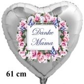 Danke Mama. Herzluftballon in Silber mit Vintage Blumenkranz, 61 cm groß
