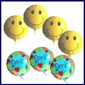 Danke mit Smiley Luftballons, 4 Stück Smiley und 3 Stück Danke Ballons mit Ballongas